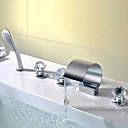 cheap Bathtub Faucets-Contemporary Deck Mounted Waterfall Handshower Included Ceramic Valve Three Handles Five Holes Chrome, Bathroom Sink Faucet