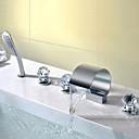 preiswerte Badarmaturen-Moderne deckenmontiert Wasserfall Handdusche inklusive Keramisches Ventil Drei Griffe Fünf Löcher Chrom, Waschbecken Wasserhahn