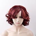 halpa Synteettiset peruukit ilmanmyssyä-Synteettiset peruukit Löysät aaltoilevat Synteettiset hiukset Punainen Peruukki Naisten Lyhyt Suojuksettomat