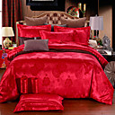 cheap Trend Duvet Covers-Duvet Cover Sets Chinese Red Silk / Cotton Blend Jacquard 4 PieceBedding Sets / 500 / 4pcs (1 Duvet Cover, 1 Flat Sheet, 2 Shams)