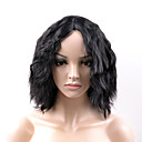 abordables Pelucas Sintéticas de Malla-Pelucas sintéticas Ondulado Amplio Pelo sintético Negro Peluca Mujer Corta Sin Tapa