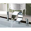 ราคาถูก ก๊อกอ่างอาบน้ำ-ก๊อกอ่างอาบน้ำ - ร่วมสมัย / Art Deco / Retro / ที่ทันสมัย มีสี กระจาย Ceramic Valve Bath Shower Mixer Taps / เหล็กสเตนเลส / จับเดี่ยวสามหลุม