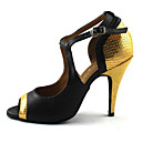 preiswerte Kigurumi Pyjamas-Damen Schuhe für den lateinamerikanischen Tanz Kunstleder Sandalen Glitter / Schnalle Stöckelabsatz Maßfertigung Tanzschuhe Gold / Rot