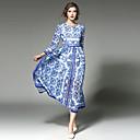 hesapli Şeffaf Perdeler-Kadın's Tatil / Dışarı Çıkma Vintage / Sokak Şıklığı / sofistike Pamuklu Çan Elbise - Kırk Yama Midi