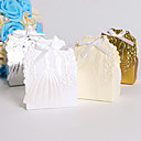 cheap Favor Holders-Round Square Creative Card Paper Favor Holder with Ribbons Printing Favor Boxes - 25