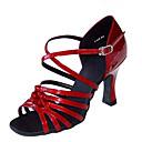 cheap Latin Shoes-Women's Latin Shoes / Jazz Shoes / Salsa Shoes Satin / Leatherette Sandal / Heel Buckle / Ruffles Customized Heel Customizable Dance Shoes