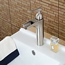 cheap Bathroom Sink Faucets-Contemporary Centerset Waterfall Ceramic Valve Single Handle One Hole Nickel Brushed , Bathroom Sink Faucet