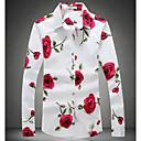 billige Mode Øreringe-Klassisk krave Tynd Herre - Blomstret Bomuld, Trykt mønster Skjorte / Langærmet