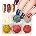 abordables Purpurina para Manicura-1 juego 6pcs Polvo / Glitter Powder / Nail Glitter Elegante / Boda / Brillos Y Estrellas Nail Art Design
