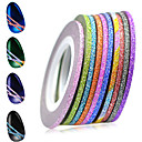 cheap Nail Stickers-1set 2mm 12 mixed sparkling colors laser glitter nail art striping tape line diy nail decorations manicure tools