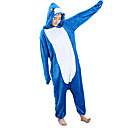 cheap Kigurumi Pajamas-Adults' Cosplay Costume Kigurumi Pajamas Shark Onesie Pajamas Flannel Toison Blue Cosplay For Men and Women Animal Sleepwear Cartoon Festival / Holiday Costumes
