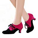 billige Swing-sko-Dame Moderne sko Semsket lær Høye hæler Kubansk hæl Kan spesialtilpasses Dansesko Svart / Fuksia / Svart / Rød / Innendørs