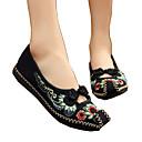 abordables Tacones de Mujer-Mujer Zapatos Tela Primavera / Verano Confort / Innovador / Zapatos bordados Bailarinas Paseo Tacón Plano Dedo cuadrada Flor Negro / Rojo