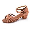 preiswerte Latein Schuhe-Schuhe für den lateinamerikanischen Tanz Satin / Stoff Sandalen / Absätze Schnalle Blockabsatz Maßfertigung Tanzschuhe Silber / Braun /