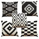 cheap Holiday Decorations-5 pcs Linen Natural/Organic Pillow Case Pillow Cover, Solid Floral Plaid Textured Casual Beach Style Euro Bolster Traditional/Classic