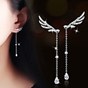 cheap Earrings-AAA Cubic Zirconia Long Drop Earrings - Zircon, Cubic Zirconia, Gold Plated Wings, Angel Wings Silver / Champagne For Wedding / Party / Daily