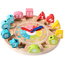 baratos Jogos Educativos de Matemática-QZM Brinquedos Matemáticos Brinquedo de madeira do relógio Brinquedo Educativo Relógio Educação Crianças Para Meninos Para Meninas Brinquedos Dom 1 pcs