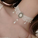 cheap Choker Necklaces-Women's Choker Necklace / Pendant - Imitation Pearl, Lace Flower Tattoo Style, Dangling Style White Necklace For Wedding, Party, Special Occasion / Birthday / Engagement / Daily / Casual