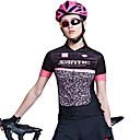 baratos Camisas Para Ciclismo-SANTIC Mulheres Manga Curta Camisa para Ciclismo - Preto / Rosa Moderno Moto Camisa / Roupas Para Esporte Blusas, Respirável Redutor de Suor 100% Poliéster / Com Stretch / Avançado