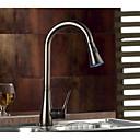 halpa Keittiön lavuaarihanat-Kitchen Faucet - Yksi kahva yksi reikä Antiikkipronssi Ulosvedettävä / pull-down / Standard nokka / Tall / Korkea Arc Integroitu Nykyaikainen / Antiikki / Art Deco / Retro Kitchen Taps