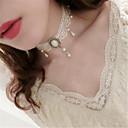 abordables Accesorios Lolita-Gargantillas Collares con colgantes Perla Artificial Elegante Inspiración Vintage Blanco Un Color Collar Poliéster Metal Disfraces