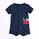 cheap Baby Boys' One-Piece-Baby Boys' Daily Print Short Sleeve Cotton Romper Navy Blue Newborn(59cm)