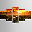 cheap Wall Stickers-Giclee Print Landscape Classic Modern,Five Panels Canvas Any Shape Print Wall Decor For Home Decoration
