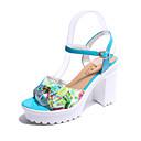 cheap Women's Sandals-Women's Block Heel Sandals PU(Polyurethane) Spring Comfort Sandals Flat Heel Yellow / Blue / Navy
