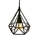 abordables Lámparas Colgantes-Vintage negro forma de diamante loft de metal luces colgantes salón comedor café bares tienda de ropa decoración luz