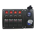 baratos Acessórios para Teclado-vermelho iztoss levou DC12 / 24v 4 quadrilha on-off balancim interruptor do painel curvado e disjuntor com adesivos e azul de etiquetas