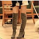 رخيصةأون أحزية بوت نسائية-للمرأة أحذية عالية في الركبة جلد خريف / شتاء مريح / جزمات غربية / كاوبوي كتب المشي كعب متوسط أمام الحذاء على شكل دائري رمادي / أحمر / أزرق