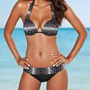 ieftine Inele la Modă-Pentru femei Halter Negru Τρίγωνο Cheeky Bikini Costume de Baie - Buline Imprimeu S M L