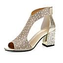 זול נעלי עקב לנשים-בגדי ריקוד נשים נעליים PU אביב נוחות סנדלים שטוח זהב / כסף