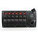 billige Kontakter til bilen-iztoss røde LED-DC12 / 24v 6 gjengen på-av vippebryteren buet panel strøm lader 3.1a USB-kontakter og vernebryter med klebefolien for båt