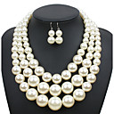 cheap Jewelry Sets-Women's Pearl Jewelry Set - Pearl Ladies, Euramerican Include Beige / Dark Coffee / Red For Wedding Party Special Occasion Daily Casual Masquerade