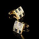 baratos Acessórios Masculinos-Forma Geométrica Branco / Preto Botões de Punho Cobre Caixas de presente e Bolsas / Fashion Homens Jóias de fantasia Para
