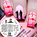 cheap Nail Stamping-1 pc bp71 love theme couple heart nail art stamping template image plate cute birds image stamp plate