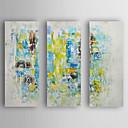 رخيصةأون رسومات زيتية-هانغ رسمت النفط الطلاء رسمت باليد - تجريدي الحديث تشمل الإطار الداخلي / ثلاث لوحات