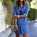 preiswerte Trinkrucksäcke & Wasserblasen-Damen Baumwolle T Shirt Kleid Solide Übers Knie Hemdkragen Blau