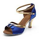 baratos Sapatos de Dança Latina-Mulheres Sapatos de Dança Latina Couro / Tecido Sandália / Salto Presilha Salto Cubano Personalizável Sapatos de Dança Preto / Azul