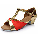 cheap Bracelets-Latin Shoes Leatherette / Fabric Sandal Buckle Chunky Heel Customizable Dance Shoes Silver / Red / Blue / Performance