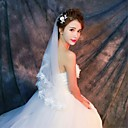 cheap Wedding Wraps-One-tier Lace Applique Edge Wedding Veil Elbow Veils Fingertip Veils 53 Appliques Lace Tulle