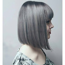 cheap Human Hair Capless Wigs-hot style grey mixed silver two tones natual bob hair style with straight bangs synthetic capless wigs