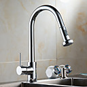 cheap Kitchen Faucets-Contemporary Pull-out/Pull-down Deck Mounted Pullout Spray Ceramic Valve Single Handle One Hole Chrome, Kitchen faucet