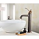 baratos Lustres-Torneira pia do banheiro - Separada Bronze Polido a Óleo Conjunto Central Monocomando e Uma Abertura
