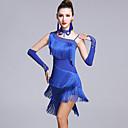 저렴한 라틴 댄스 웨어-라틴 댄스 드레스 여성용 성능 비스코스 태슬 / 크리스탈 / 라인석 민소매 내츄럴 드레스 / 글러브 / 반바지