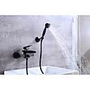 cheap Bathtub Faucets-Bathtub Faucet - Contemporary Oil-rubbed Bronze Centerset Ceramic Valve