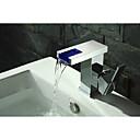 baratos Torneiras de Banheiro-torneira da pia do banheiro - cachoeira / levou cromo centerset único punho um buraco torneiras de banho