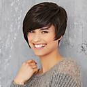 olcso Szintetikus parókák-Emberi hajszelet nélküli parókák Emberi haj Egyenes Bretonnal Oldalsó rész Rövid Géppel készített Paróka Női