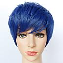 povoljno Anime perike-Sintetičke perike Ravan kroj Sintentička kosa Plava Perika Muškarci / Žene Kratko Capless